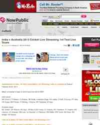 India Australia 2013 Cricket Live Streaming 1st: NowPublic